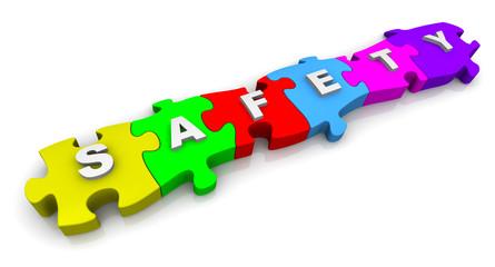 Безопасность (safety). Надпись на разноцветных пазлах