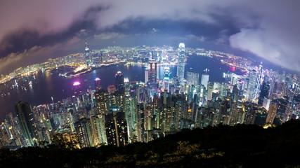 Timelapse video of Hong Kong at night, fisheye view