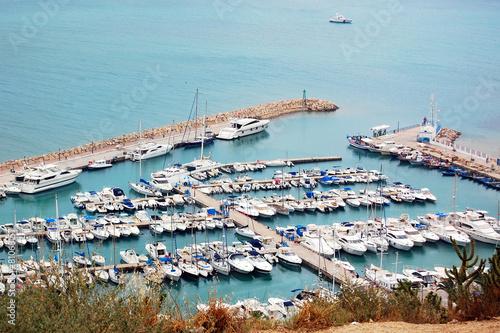 Fotobehang Tunesië The sea mooring with yachts