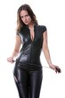 young domina in black with a whip (white background)