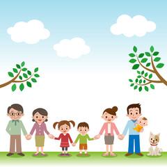 手をつなぐ幸せ三世代家族