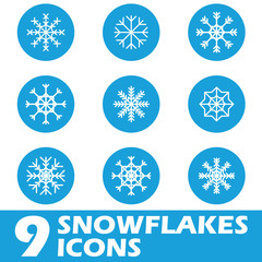Blue snow flat icons