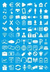 Blue webdesign flat icons set