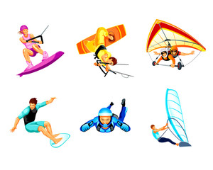 Air and water extreme sport activity icons