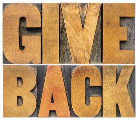 give back typography in wood type