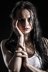 Wet upset woman with a flowed ink