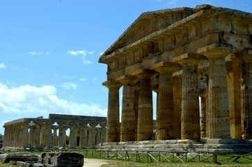 Stately greek temple of Neptune - Paestum, Italy
