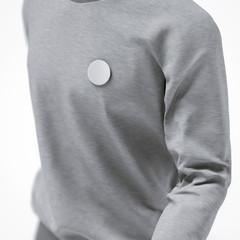 round badge button on jacket