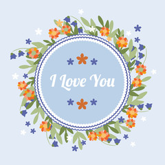 Blue greeting card with orange flowers