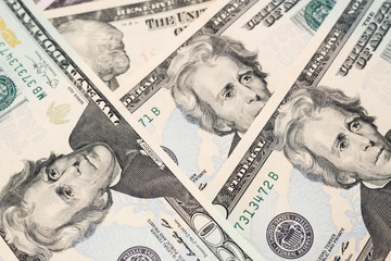 Twenty dollars banknotes background
