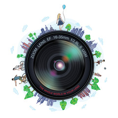 The whole world in your lens, vector illustration