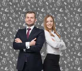business couple are standing over the concrete money