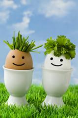 Zwei lustige Bio-Eier