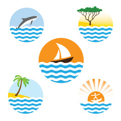 Set of sea logos