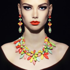 Perfect lady with jewelry