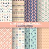 Vintage Aztec Tribal Backgrounds - 8 Seamless Patterns