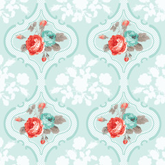 Vintage Floral Background - Seamless Rose Flowers Pattern