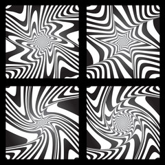 Torsion movement. Abstract designs set.