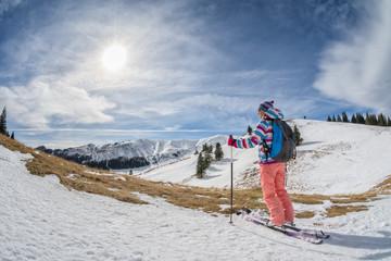 ski touring in the mountains