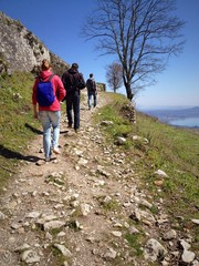 friends climbing the mountain in Abkhazia. active sport.