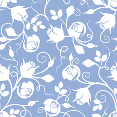 White seamless floral pattern with rose buds on blue. Vector.