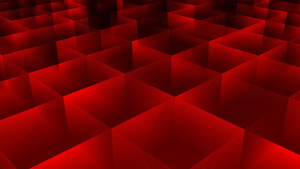 Moving cubes, red background. 3D rendered.