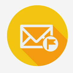 Mail icon, envelope with flag. Flat design vector illustration.