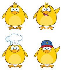Funny Yellow Chick Character Different Poses 1. Collection Set