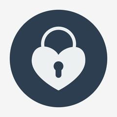 Single flat heart padlock icon. Vector illustration.