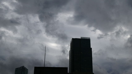 Strong winds and storm clouds over the skies of Tokyo