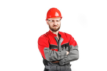 man wearing overalls with red helmet