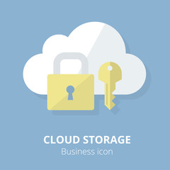 Business icon. Cloud storage.  Flat vector illustration.