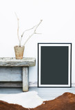 Black frame with place for text. Mock up.  Hipster scandinavian