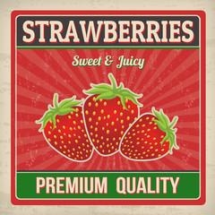 Strawberries retro poster