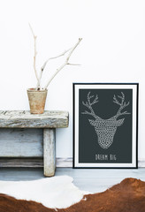 DREAM BIG with doodle deer. Hipster scandinavian room design