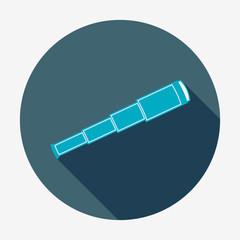 Pirate or sea icon, spyglass. Flat design vector illustration.