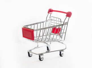 Empty shopping cart, isolated on white background