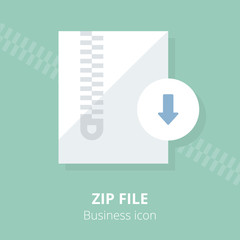 Business icon. Zip file.  Flat vector illustration.