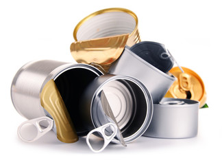 Recyclable garbage consisting of metal cans isolated on white