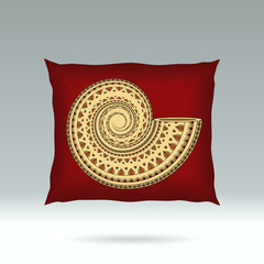 Red Pillow with ornament shell