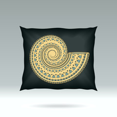 Black Pillow with ornament shell