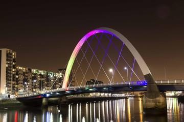 famous Squinty bridge in Glasgow landmark over river Clyde