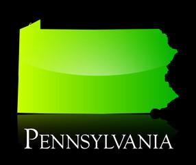 Pennsylvania green shiny map