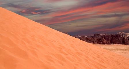 Sand-dunes in Wadi Rum desert, Jordan, Middle East