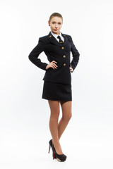 beautiful female young airline pilot
