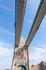 London. Tower Bridge structure on a sunny day