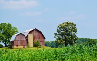 Rustic barn and farmland