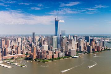 Aerial skyline of Lower Manhattan on a beautiful sunny day