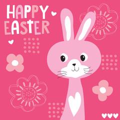 cute pink bunny vector illustration