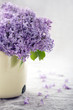 Vase with a bouquet of purple lilac spring flowers